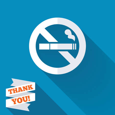 No Smoking sign icon. Cigarette symbol. White flat icon with long shadow. Paper ribbon label with Thank you text.