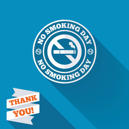 No smoking day sign icon. Quit smoking day symbol. White flat icon with long shadow. Paper ribbon label with Thank you text. photo