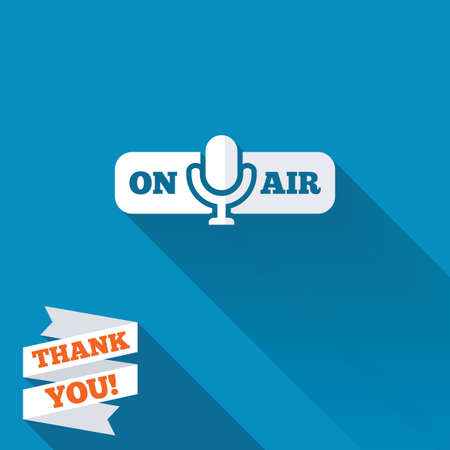 long live: On air sign icon. Live stream symbol. Microphone symbol. White flat icon with long shadow. Paper ribbon label with Thank you text.