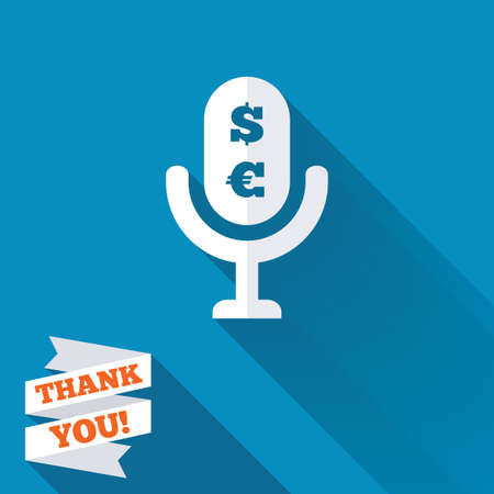 usr: Microphone icon. Speaker symbol. Paid music sign. White flat icon with long shadow. Paper ribbon label with Thank you text. Stock Photo