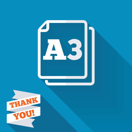 a3: Paper size A3 standard icon. File document symbol. White flat icon with long shadow. Paper ribbon label with Thank you text. Stock Photo