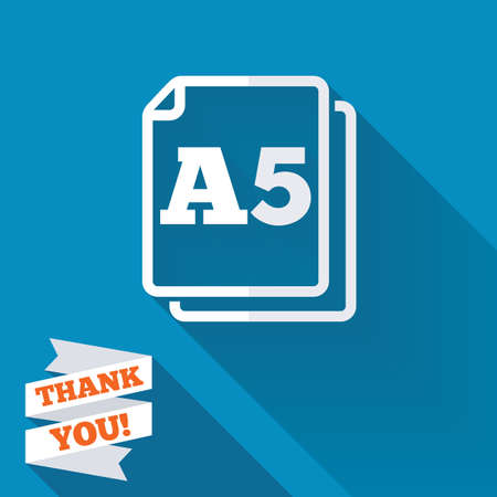 a5: Paper size A5 standard icon. File document symbol. White flat icon with long shadow. Paper ribbon label with Thank you text. Stock Photo