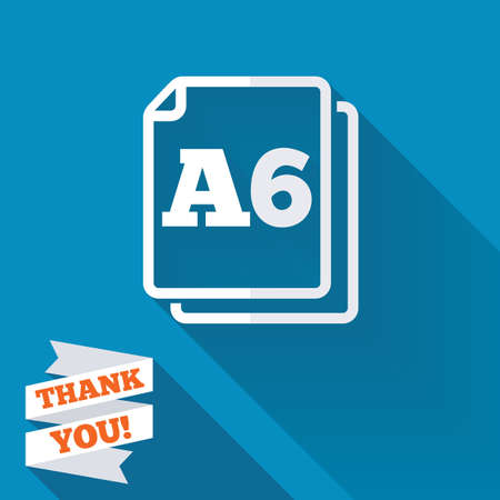 a6: Paper size A6 standard icon. File document symbol. White flat icon with long shadow. Paper ribbon label with Thank you text. Stock Photo