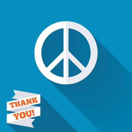 Peace sign icon. Hope symbol. Antiwar sign. White flat icon with long shadow. Paper ribbon label with Thank you text. photo