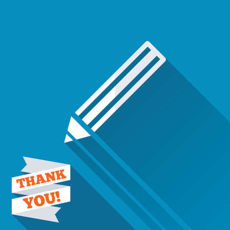 Pencil sign icon. Edit content button. White flat icon with long shadow. Paper ribbon label with Thank you text. photo