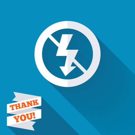 no photo: No Photo flash sign icon. Lightning symbol. White flat icon with long shadow. Paper ribbon label with Thank you text.