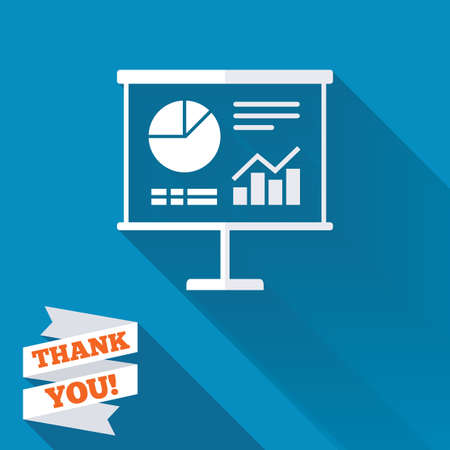 ppt: Presentation billboard sign icon. Scheme and Diagram symbol. White flat icon with long shadow. Paper ribbon label with Thank you text.