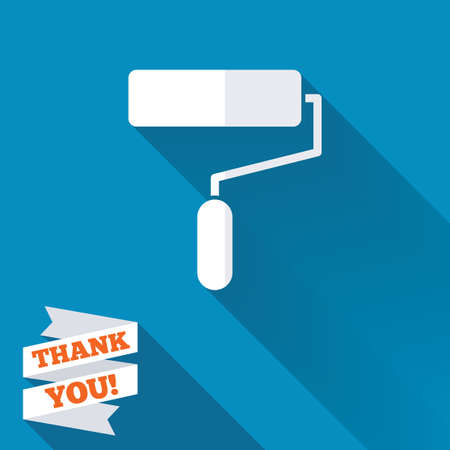 blue paintroller: Paint roller sign icon. Painting tool symbol. White flat icon with long shadow. Paper ribbon label with Thank you text.