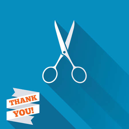 disclosed: Scissors hairdresser sign icon. Tailor symbol. White flat icon with long shadow. Paper ribbon label with Thank you text.