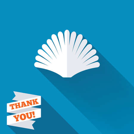 Sea shell sign icon. Conch symbol. Travel icon. White flat icon with long shadow. Paper ribbon label with Thank you text. photo