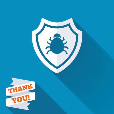 security token: Shield sign icon. Virus protection symbol. Bug symbol. White flat icon with long shadow. Paper ribbon label with Thank you text. Stock Photo