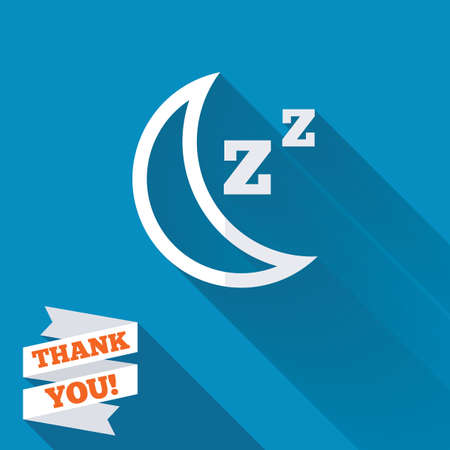 zzz: Sleep sign icon. Moon with zzz button. Standby. White flat icon with long shadow. Paper ribbon label with Thank you text.
