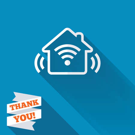 Smart home sign icon. Smart house button. Remote control. White flat icon with long shadow. Paper ribbon label with Thank you text. photo