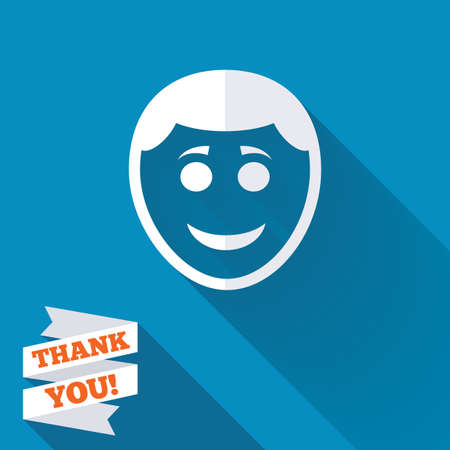 Smile face sign icon. Happy smiley with hairstyle chat symbol. White flat icon with long shadow. Paper ribbon label with Thank you text. photo