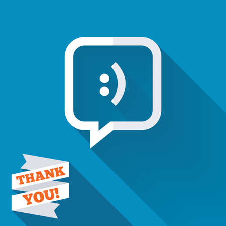 smiling: Chat sign icon. Speech bubble with smile symbol. Communication chat bubbles. White flat icon with long shadow. Paper ribbon label with Thank you text. Stock Photo