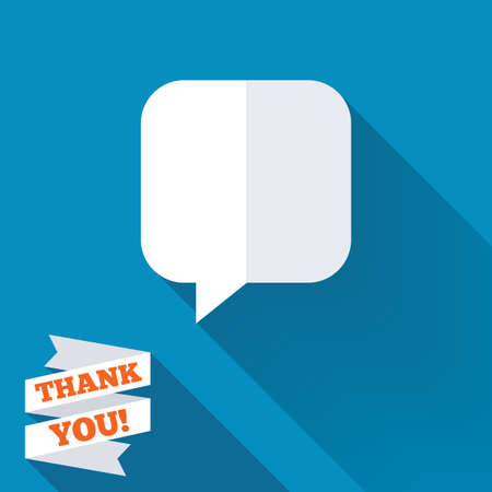 Chat sign icon. Speech bubble symbol. Communication chat bubbles. White flat icon with long shadow. Paper ribbon label with Thank you text. photo