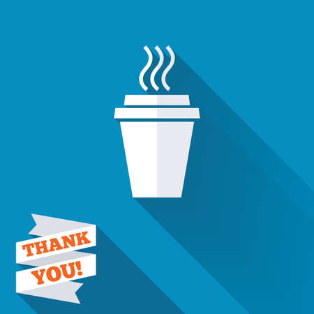 coffee cup: Take a Coffee sign icon. Hot Coffee cup. White flat icon with long shadow. Paper ribbon label with Thank you text. Stock Photo