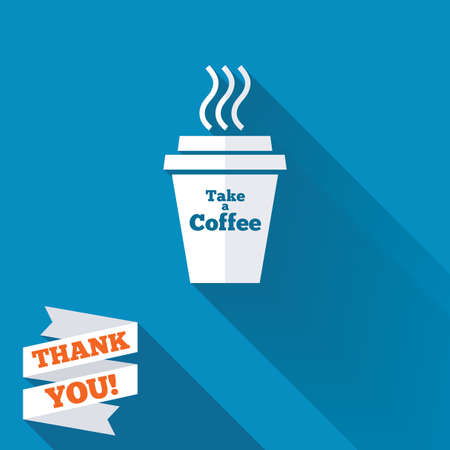 Take a Coffee sign icon. Hot Coffee cup. White flat icon with long shadow. Paper ribbon label with Thank you text. photo
