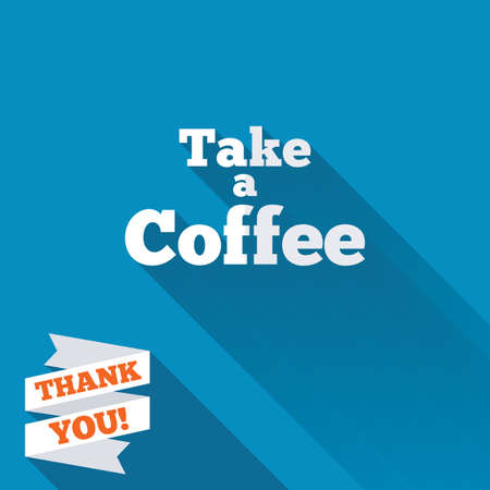 cut away: Take a Coffee sign icon. Coffee away symbol. White flat icon with long shadow. Paper ribbon label with Thank you text. Stock Photo