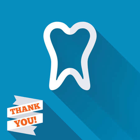Tooth sign icon. Dental care symbol. White flat icon with long shadow. Paper ribbon label with Thank you text. photo