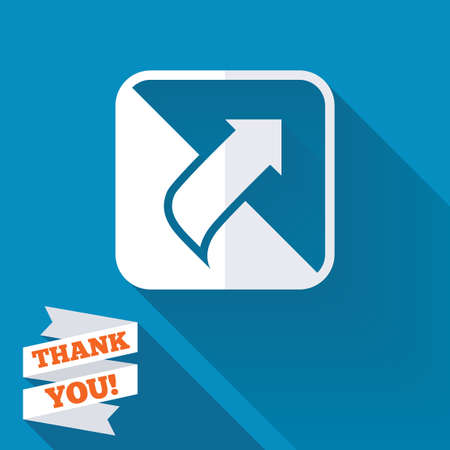 Turn page sign icon. Peel back the corner of the sheet symbol. White flat icon with long shadow. Paper ribbon label with Thank you text. photo
