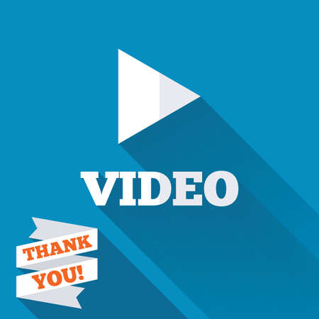 Play video sign icon. Player navigation symbol. White flat icon with long shadow. Paper ribbon label with Thank you text. photo
