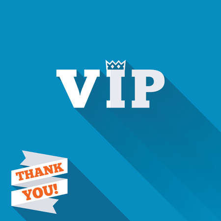 very important person: Vip sign icon. Membership symbol. Very important person. White flat icon with long shadow. Paper ribbon label with Thank you text. Stock Photo