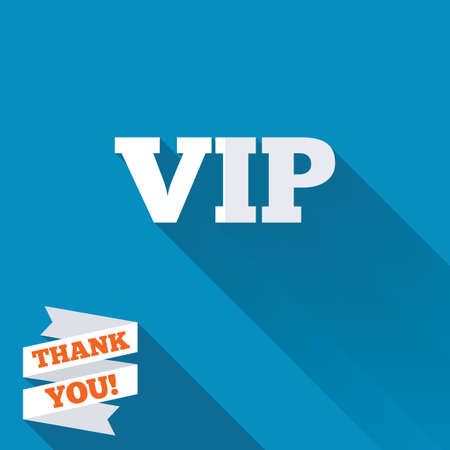 very important person sign: Vip sign icon. Membership symbol. Very important person. White flat icon with long shadow. Paper ribbon label with Thank you text. Stock Photo