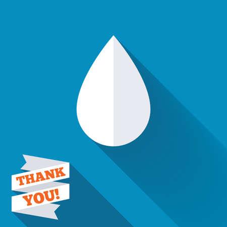 Waterdruppel teken icoon. Tear-symbool. Witte platte pictogram met lange schaduw. Papier lint label met Thank u tekst. Stockfoto