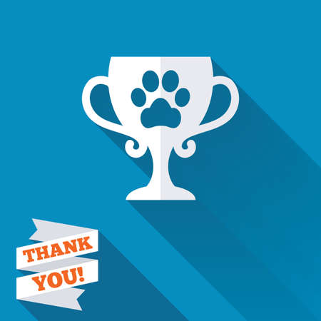 Winner pets cup sign icon. Trophy for pets. White flat icon with long shadow. Paper ribbon label with Thank you text. photo