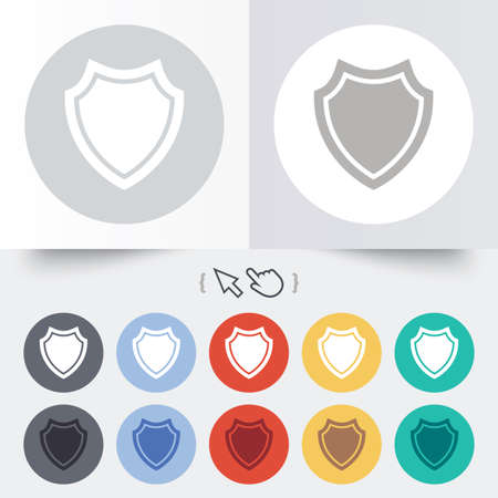 Shield sign icon. Protection symbol. Round 12 circle buttons. Shadow. Hand cursor pointer. photo