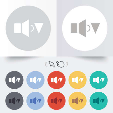 Speaker low volume sign icon. Sound symbol. Round 12 circle buttons. Shadow. Hand cursor pointer. photo