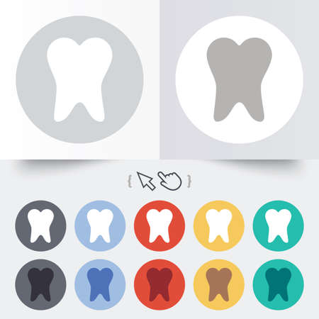 Tooth sign icon. Dental care symbol. Round 12 circle buttons. Shadow. Hand cursor pointer. photo