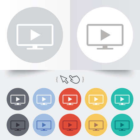 Widescreen TV mode sign icon. Television set symbol. Round 12 circle buttons. Shadow. Hand cursor pointer. photo
