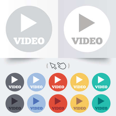 Play video sign icon. Player navigation symbol. Round 12 circle buttons. Shadow. Hand cursor pointer. photo