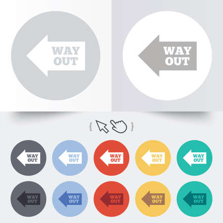 Way out left sign icon. Arrow symbol. Round 12 circle buttons. Shadow. Hand cursor pointer. photo