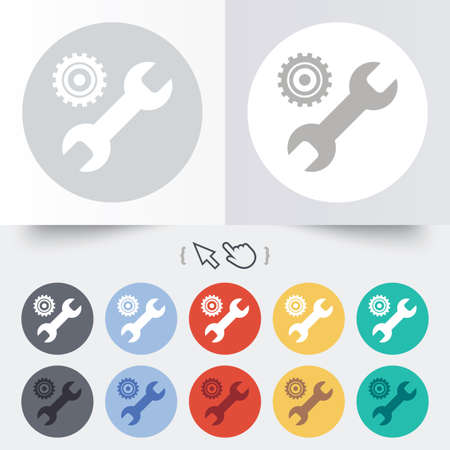 Repair tool sign icon. Service symbol. Hammer with wrench. Round 12 circle buttons. Shadow. Hand cursor pointer. photo