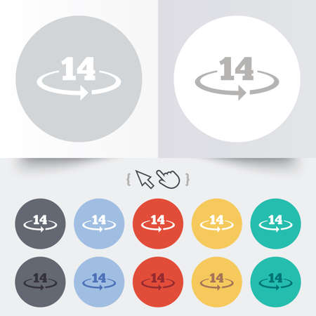 Return of goods within 14 days sign icon. Warranty exchange symbol. Round 12 circle buttons. Shadow. Hand cursor pointer. photo