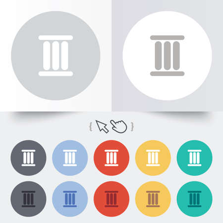 three pointer: Roman numeral three sign icon. Roman number three symbol. Round 12 circle buttons. Shadow. Hand cursor pointer. Stock Photo