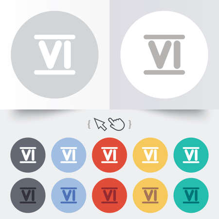Roman numeral six sign icon. Roman number six symbol. Round 12 circle buttons. Shadow. Hand cursor pointer. photo