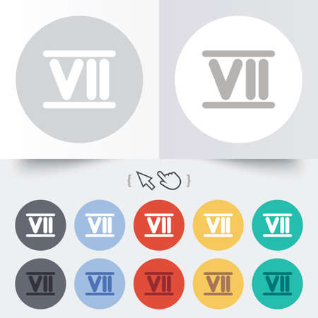 Roman numeral seven sign icon. Roman number seven symbol. Round 12 circle buttons. Shadow. Hand cursor pointer. photo