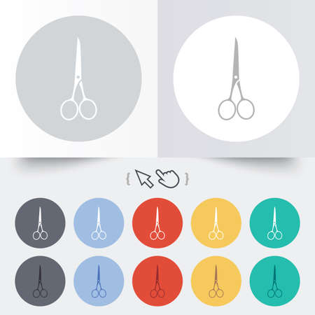 Scissors hairdresser closed icon. Tailor symbol. Round 12 circle buttons. Shadow. Hand cursor pointer. photo