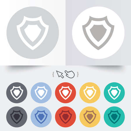 security token: Shield sign icon. Protection symbol. Round 12 circle buttons. Shadow. Hand cursor pointer.
