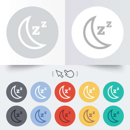 standby: Sleep sign icon. Moon with zzz button. Standby. Round 12 circle buttons. Shadow. Hand cursor pointer. Stock Photo