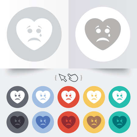 Sad heart face with tear sign icon. Crying chat symbol. Round 12 circle buttons. Shadow. Hand cursor pointer. photo
