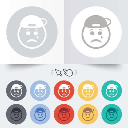 Sad rapper face with tear sign icon. Crying chat symbol. Round 12 circle buttons. Shadow. Hand cursor pointer. photo