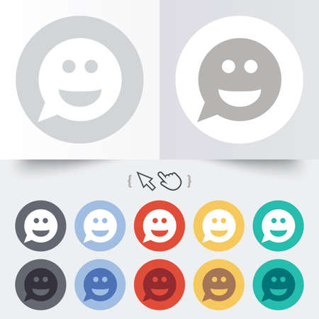 Smile face sign icon. Happy smiley chat symbol. Speech bubble. Round 12 circle buttons. Shadow. Hand cursor pointer. photo