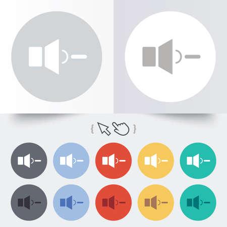 Speaker low volume sign icon. Sound symbol. Round 12 circle buttons. Shadow. Hand cursor pointer. photo