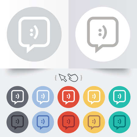 Chat sign icon. Speech bubble with smile symbol. Communication chat bubbles. Round 12 circle buttons. Shadow. Hand cursor pointer. photo