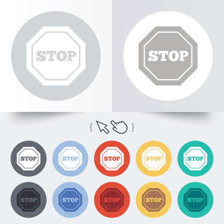 Traffic stop sign icon. Caution symbol. Round 12 circle buttons. Shadow. Hand cursor pointer. photo